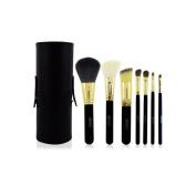Supermodels Secrets 7 Pcs Makeup Brushes Pu Vegan Leather Tube Canister Cylinder Case Holder
