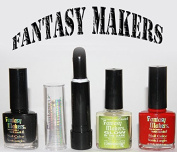 "Fantasy Makers ""Wicked Pack""lipstick/rouge Black & Nail Polish Black, Red & Glow in the Dark"