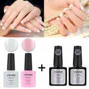 Vishine French Manicure Kit Base Top Coat Colour White Pink Nail Polish Gel 10ml & Tips Guides Stickers