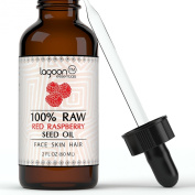 Organic Red Raspberry Seed Oil 100% Raw Virgin Cold Pressed Pure Unrefined From Lagoon Essentials For Hair, Skin, Face, Wrinkles, Acne, Eczema and More. (2oz / 60ml) Bottle With Dropper.