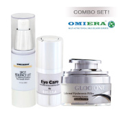 Anti-Wrinkle Cream Glocione (30ml) + Dark Circles Under Eyes Treatment llumizone Serum (15ml) + Dark Spots Corrector Glocione (30ml) Anti Ageing Products By Omiera Labs