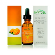 New!! Organic 20% Vitamin C Serum- With Hyaluronic Acid, Ferulic Acid, Argan Oil, Vitamin E, Rosehip Seed Oil, Plant Stem Cells- Fights Wrinkles & Airbrushes Skin to Perfection - Phytosil 30ml