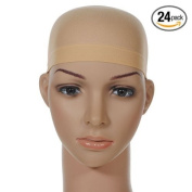 24 Pk Quality WIG CAP Nylon MUST HAVE One Size BEIGE/NUDE