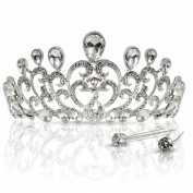 Crystal Crown Tiara with Comb, Light Weight, Hundreds of Shiny Rhinestones for Bridal Party, Weddings, Pageants, Sweet 16, Prom, Quinceanera and Any Occasion