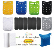 Lilbit 6 Solid Adjustable Baby Cloth Nappies with 6 Pcs Bamboo Charcoal Inserts,flushable Viscose Liners,wet/dry Bag Ymxtzzh07