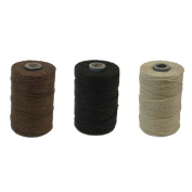 Waxed Irish Linen Crawford Cord 4 Ply 3 Spools Walnut Brown, Black and Natural 300 Yards Total
