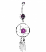 Astage Women`s Piercing Jewellery Belly Ring Arched Willow Leaves Purple