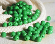 120 pcs Czech Round Glass Beads 4mm Opaque Green Beads