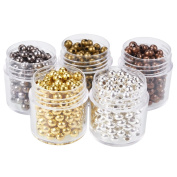 Pandahall 5 Box 4mm Mixed Colour Iron Round Spacer Beads