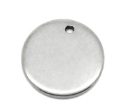 VALYRIA 10pcs Silver Tone Stainless Steel Blank Stamping Tags Round Charm Pendants 10mm