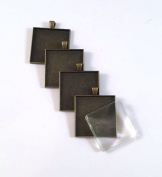 12 Deannassupplyshop 35mm inch square Pendant Trays with glass - Antique Bronze - 35mm - Pendant Blanks Cameo Bezel Settings Photo Jewellery - Custom Jewellery Making