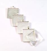 12 Deannassupplyshop 35mm inch square Pendant Trays with glass - Silver - 35mm - Pendant Blanks Cameo Bezel Settings Photo Jewellery - Custom Jewellery Making