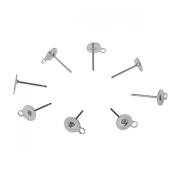 HooAMI Stainless Steel Silver Round Blank Earring Pin Post Stud Back Finding with Loop Ring 12.5mmx6mm,10pcs