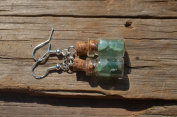 Green Quartz Stones in Delicate Glass Vial Earrings