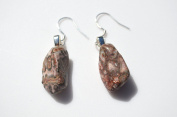 Leopard Skin Stone Sterling Silver Earrings