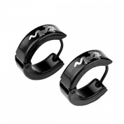 Men's Titanium Steel Dragon Pattern Earring (Black) - One Pair