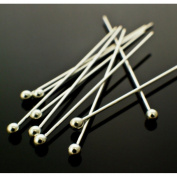 """200 Silver Plated Solid Brass Headpins Head Ball Pins- Jewellery Making Findings- 50mm or 2"""" inches, 24 gauge"""