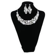 Pears and Rhinestone Bridal Tear Drop Flower Crystal Necklace Earrings Set