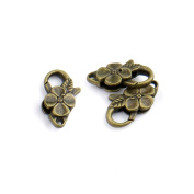 40pcs Jewellery Making Charms Jewellery Charme Antique Bronze Tone Fashion Finding for Necklace Bracelet Pendant Crafting Earrings ZF074 Flower Lobster Clasps