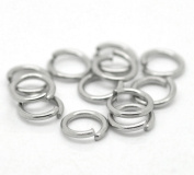 "HooAMI Stainless Steel 0.9mm Open Jump Rings for Jewellery Making Findings Silver Tone 6mm(1/4""), 100pcs"
