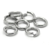 """HooAMI Stainless Steel 1.5mm Open Jump Rings for Jewellery Making Findings Silver Tone 8mm(3/8""""), 50pcs"""