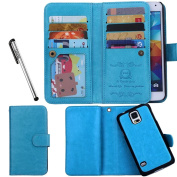 For Samsung Galaxy S5, Urvoix(TM) Wallet Leather Flip Card Holder Case, 2 in 1 Detachable Magnetic Back Cover for Galaxy S5 G900