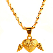 Onairmall Exquisite Lovely Angel's Wing Pendant Heart Love Gold Plated Necklace Women Lady Elegant Jewellery- Come with Chain, Rope