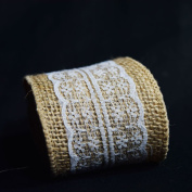 Quasimoon Burlap and Lace Style No.5 Fabric Wrap Roll (0.7m x 1.8m) by PaperLanternStore
