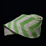 Quasimoon Burlap Fabric Wrap Roll w/ Apple Green Chevron Pattern (0.7m x 1.8m) by PaperLanternStore