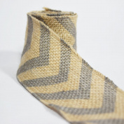 Quasimoon Burlap Fabric Wrap Roll w/ Grey / Grey Chevron Pattern (0.7m x 1.8m) by PaperLanternStore