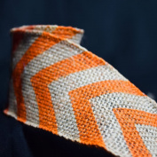 Quasimoon Burlap Fabric Wrap Roll w/ Orange Chevron Pattern (0.7m x 1.8m) by PaperLanternStore