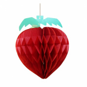 HEARTFEEL Pack of 5 Honeycomb Strawberry Tissue Honeycomb Hanging Fruit Decorations Garden Room Decoration Party Favours
