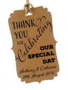 Summer-Ray.com 50pcs Personalised Mini Bracket Kraft Wedding Favour Gift Tags Thank You for Celebrating Our Special Day