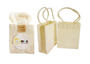 Omin Ivory Colour Reusable Mulberry Paper Kraft Small Gift Bags with Handles Set of 10 size 8.9cm x 3.8cm x 11cm