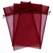 20x Wine Organza Bags Fabric Gift Party Gift Bags Large 38cm By 17cm Red