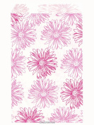 200 Pink Flower Print on White Flat Merchandise or Favour Bags 10cm x 15cm