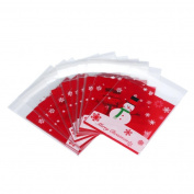 Binmer(TM)100pcs OPP Bags Santa Claus Cake Gift Bags Candy Wrapping Paper