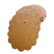 Aexge 50pcs Scalloped Wedding Brown Kraft Paper Tags Lolly Bag Bonbonniere Favour Gift Tag with Jute Twines