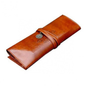 Lookatool® Vintage Style Rollup Pencil Case, Pencil Bag, Pen Pocket - PU Leather