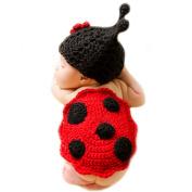 XMYM Newborn Handmade Ladybug Crochet Knitted Unisex Baby Cap Outfit Photo Props