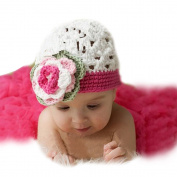 JISEN Newborn Baby Photography Props Handmade Rose Hat Veil Suit Crochet Knitted Baby Girl Cap Outfit Photo Props