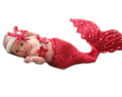 XMYM Newborn Handmade Mermaid Crochet Knitted Unisex Baby Cap Outfit Photo Props (Suspender Trousers)