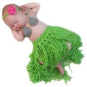 XMYM Newborn Handmade Grass Skirts Crochet Knitted Unisex Baby Cap Outfit Photo Props