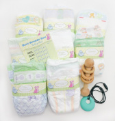 Perfectly Picked Nappy, Wood Rattle, Silicone Teething Gift Pack - Best Brands Box - Disposable Nappy Variety Gift Set (Nappy Size 1)