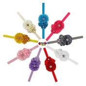 Lollipopsweet Baby Girl Elastic Headband Cystal and Pearl Flowers