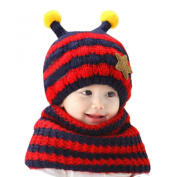 Doinshop 2015 Baby's Funny Bee Hood Scarf Wool Hat with Earflap Knit Cap Toddler