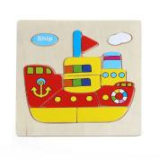 Sandistore Wooden Blocks Animals Kid Children Educational Toy Puzzle Cartoon Baby
