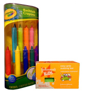 Bath Fun with Crayola Bathtub Crayons and Johnson's Kids Easy-Grip Sudzing Bar Bundle. 2 Items