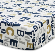 100% Cotton, Graphic Alphabet Print in Navy & Tan on a White Background Fitted Crib Sheet