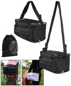JAVOedge Covertable Black Hanging Stroller Bag or Shoulder Bag with Multiple Pockets for Drinks, Snacks, Toys, Etc.